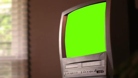 Green Screen old TV in office setting from the 1990s for generic use Footage
