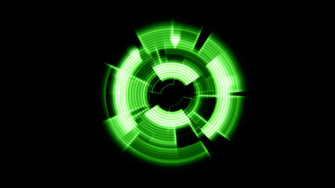 Interface Data Loader Green Glow Circular Round with Ripple Effect. Alpha Channe Animation