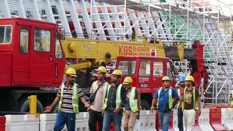 Construction Street Workers Kuala Lumpur 4k Footage