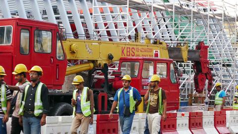 Construction Street Workers Kuala Lumpur 4k