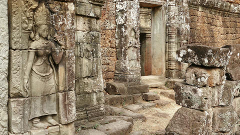 Ancient Angkor Wat Panorama Wall Details Sunset Cambodia 4K Footage