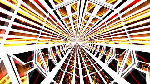 Inside a 3D Orange Red Tunnel Animation. Exit at the End Animation