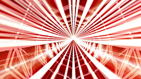 Inside a 3D Illuminated Tunnel. Red. Exit at the End Animation