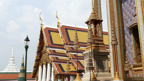 Bangkok Thailand Wat Grand Palace BuddhismTempleClouds 4k Footage