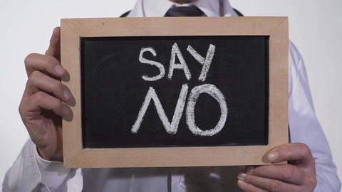 Say no text on blackboard in doctor hands, give up unhealthy lifestyle habits Live Action