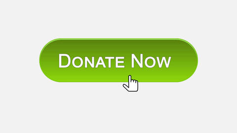 Donate now web interface button clicked with mouse, different color choice Footage