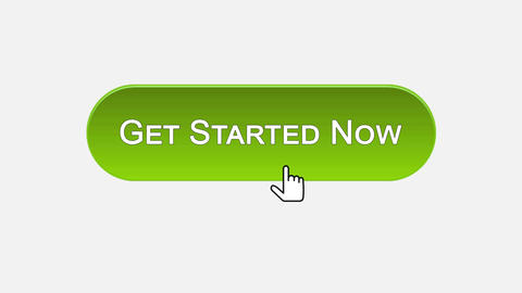Get started now web interface button clicked with mouse, different color choice Footage