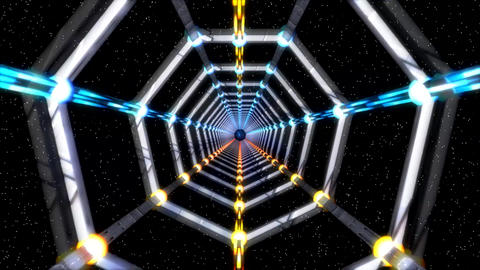 3D Light Grey Metallic Space Tunnel with Starfield Background Animation Animation
