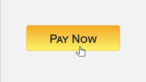 Pay now web interface button clicked with mouse cursor, different color choice Footage