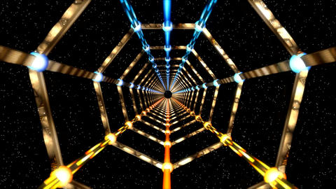 3D Golden Metallic Space Tunnel with Starfield Background Animation Animation