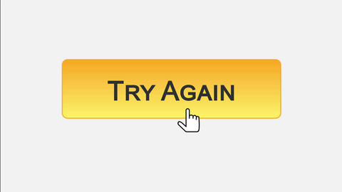 Try again web interface button clicked with mouse cursor, different color choice Footage