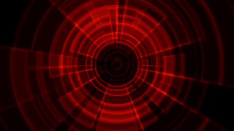 2D Tron Round Tunnel Portal Vortex Red Color Animation