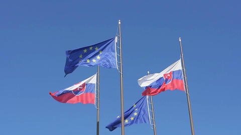 The European and Slovak flag Live Action