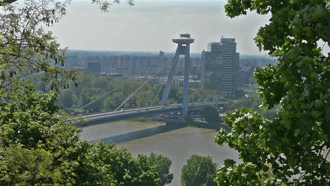 The bridge on the Danube river in Bratislava Footage