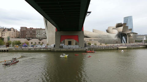 Boats sailing under La Salve Bridge, preparation for competition, Bilbao, Spain Footage