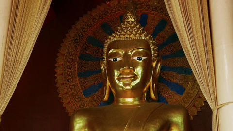 Buddhist Temple Golden Buddha Statue Temple 4k Footage