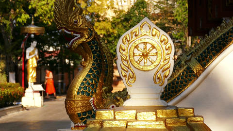 Dharma Wheel Temple Monk Sunset 4k Footage