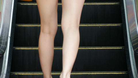 Escalator Female Feet 4k Footage