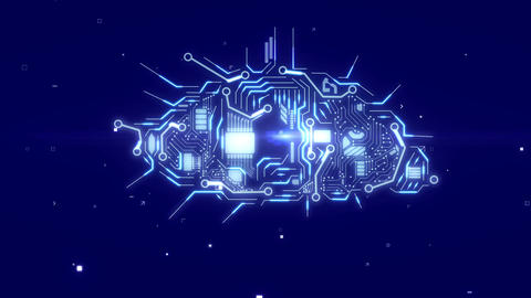 Cloud with technological electronics circuit board Animation