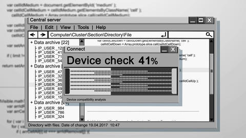 Computer working OS screen with Device checking Animation