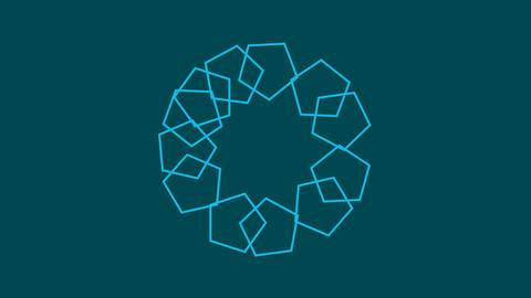 Pentagon shape moving and making patterns. Abstract motion graphics background Animation