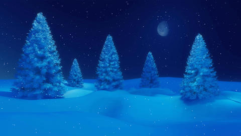 Snowy winter firs at calm snowfall night cinemagraph Animation