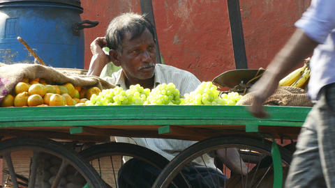 Seller Fruit Portrait Street Agra India 4k Footage
