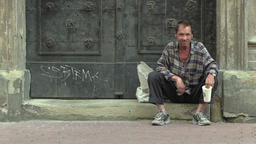 Authentic emotion senior man homeless in city begging Footage