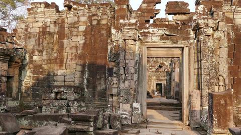 Tilt Up Angkor Wat Temple Cambodia Tourists Sunset 4k Footage