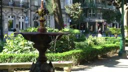 Spain Galicia City of Vigo 004 beautiful old fountain in the park Footage