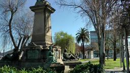 Spain Galicia City of Vigo 010 memorial between bare trees in city park Footage
