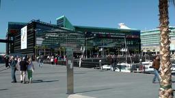 Spain Galicia City of Vigo 015 shopping center and cruise ship in harbor Footage