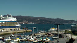 Spain Galicia City of Vigo 023 hill landscape behind the cruise ship harbor Footage