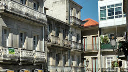 Spain Galicia City of Vigo 030 inner courtyard in old town residential district Footage