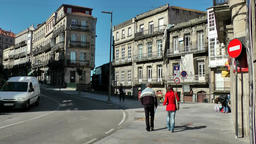 Spain Galicia City of Vigo 032 curve in main street with old houses Footage