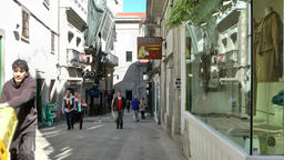 Spain Galicia City of Vigo 037 shopping alley with store windows in old town Footage