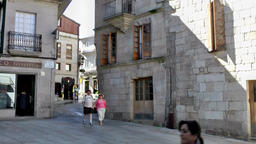 Spain Galicia City of Vigo 039 house corner at old town public square Footage