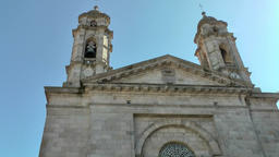 Spain Galicia City of Vigo 041 portal of the old church in panning movement Filmmaterial