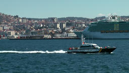 Spain Galicia City of Vigo 051 cityscape with a big cruise ship in foreground Footage