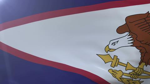 Flag of American Samoa waving on flagpole in wind, national symbol of freedom Footage