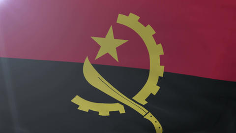 Flag of Angola waving on flagpole in the wind, national symbol of freedom Footage
