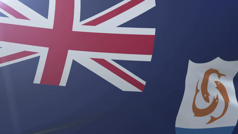 Flag of Anguilla waving on flagpole in the wind, national symbol of freedom Footage