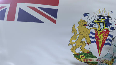 Flag of British Antarctic Territory waving in wind, national symbol of freedom Footage