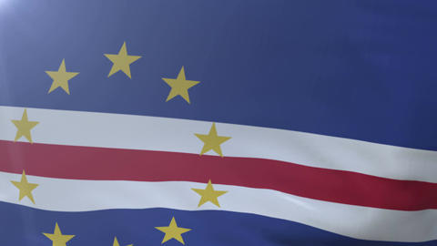 Flag of Cape Verde waving on flagpole in the wind, national symbol of freedom Footage