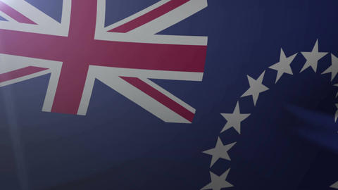 Flag of Cook Islands waving on flagpole in the wind, national symbol of freedom Footage