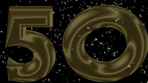 50th anniversary animated video banner with blue bottle of champagne, silver bub Animation