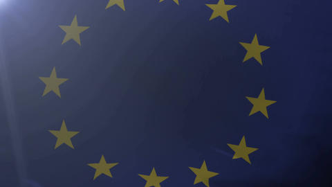 Flag of European Union waving on flagpole in wind, national symbol of freedom Footage