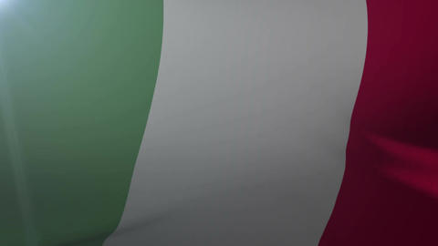 Flag of Italy waving on flagpole in the wind, national symbol of freedom Live Action