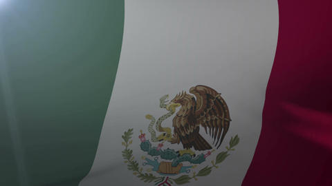 Flag of Mexico waving on flagpole in the wind, national symbol of freedom Footage