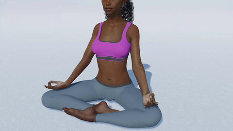 African woman in meditation easy pose on white background close up Animation